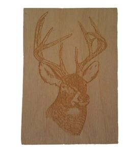 Wooden DEER STAG Etched Free Standing Art Block Hunter Forest