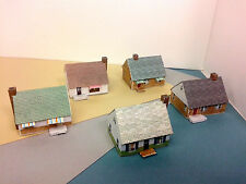 N Scale Building - Card Stock Cape Cod Style or Wartime Houses (set of 5)