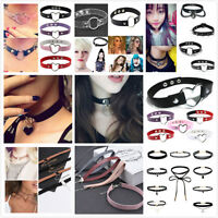 Retro Women's Lace Up Gothic Punk Choker Vintage Velvet Leather Necklace Jewelry