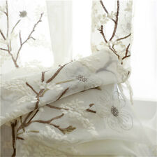 Chinese Flower Embroidered Sheer Curtain Elegant Voile Panel for Bedroom 1 Panel
