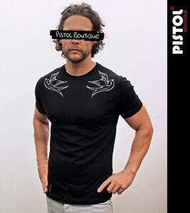 Pistol Boutique Men Black Standard Fit Crew Neck SHOULDER SKETCH SWALLOWS Tshirt
