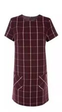 New Look - Burgundy / Wine Check Double Pocket Tunic Dress BNWT SIZE 10