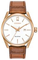 Citizen Eco-Drive Men's CTO BM7413-02A Rose Gold-Tone Leather Watch