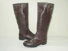 BODEN BROWN LEATHER BIKER/RIDING STYLE KNEE BOOTS SIZE uk 4/eu 37