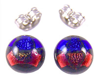 "Tiny DICHROIC GLASS EARRINGS Post 1/4"" 10mm Orange Blue Round Layered Fused STUD"