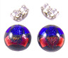 """Tiny DICHROIC GLASS EARRINGS Post 1/4"""" 10mm Orange Blue Round Layered Fused STUD"""
