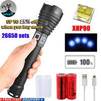 Portable Zoom Waterproof 5000lm XHP90LED Flashlight Glare Flashlight Hand Rops