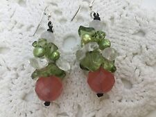 Crystal Faceted watermelon and agate drop earrings gemstone pink green pearls