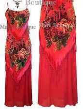 Dress Gown Red Silk Burnout Velvet Beaded Victorian Roses Maya Matazaro S