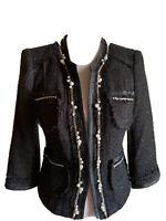 New WHITE HOUSE BLACK MARKET TWEED Pearls Chain Embellished Coco Blazer JACKET 4