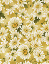 Dahlia Gold Daisies Floral Timeless Treasures #6408 By the Yard