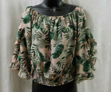Self Esteem Peasant Blouse Size L NWT Leaf Print Polyester Short Ruffled Sleeves