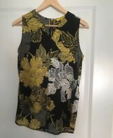 NEXT BLACK MUSTARD SMART FLORAL DIPPED HEM VEST TOP SIZE 8