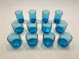 Vintage lot of 8 lowball blue glass tumblers & 4 juice glasses