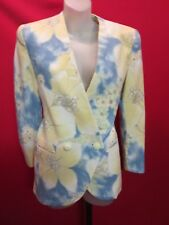~~ANGELO FABRICS Rare Yellow Blue Floral Vintage Wool Jacket Sz M~~Blazer