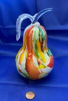 "Vintage Zorza Hand Blown Art Glass Pear Made in Poland Large 6.25"" Tall"