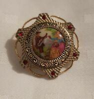Vintage Goldtone Picture Brooch Pin ceramic centre Classic Scene Couple Serenede