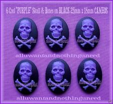 6 Goth Punk Halloween Zombie PURPLE SKULL & BONES on BLACK 25mm x 18mm CAMEOS