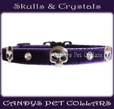 "* Handmade * Purple Velvet Crystals &  Skulls Cat Kitten Collar 9"" with bell"