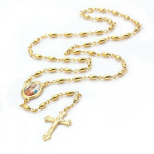 fashion necklace yellow  Gold Filled Big Bead Necklace Jesus Cross pendant
