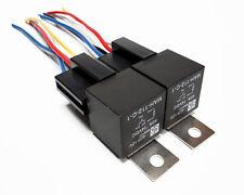 2 PAIR 12 VOLT PREMIUM SPDT RELAYS & SOCKETS CAR ALARM 40 AMP 40A 12V AUTOMOTIVE