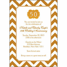 25 Personalized 50th Wedding Anniversary Party Invitations  - AP-015 Gold