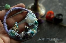 HANDMADE Moonstone Abalone & Amethyst Crystal Mermaid Necklace Fantasy Jewellery