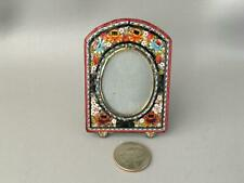 New ListingVtg Italian Glass Micro Mosaic Roses Flowers Miniature Picture Frame Marked