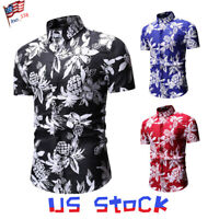 Men Hawaii Shirts Floral Print Short Sleeve Collar Beach Holiday Summer Retro US