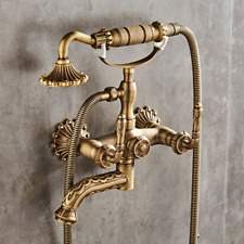 Telephone Wall Mounted Antique Brass Carved Bathtub Mixer Faucet Hand Shower Tap