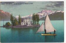 Lac Leman Ile de Salagnon & Dents du Midi 1909 Postcard 388a