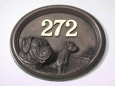 Bronze Finish Boxer Dog House Number Sign