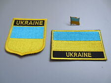 Set of  Embroidery Flag Patch and Badge shield Patch and Lapel pin UKRAINE