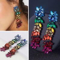 Fashion Colorful Rhinestone Dangle Drop Statement Earrings Women Party Jewelry