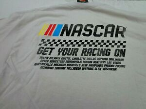 Nascar 'Get Your Racing On' Oatmeal Color   T-Shirt  Large   New