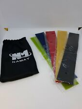 New 5 Piece Namay Mini  Loop Resistance Exercise Fitness Bands w/ Carrying Bag