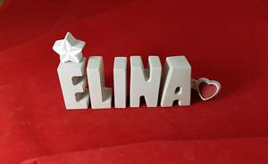 Beton, Steinguss Buchstaben 3D Deko Namen ELINA als Geschenk verpackt!