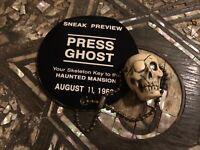 """PRESS GHOST"" Sneak Disneyland RARE Haunted Mansion 1969 Skull + PressPass PROP"