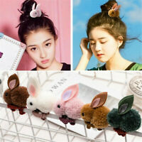 Cute Kids Girls Elastic Rope Hair Ties Rabbit Pom Ball Head Band Hairbands Gift