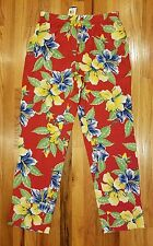 POLO RALPH LAUREN WOMENS O'AHU RED FLORAL RAYON PULL-ON PANTS SIZE 14 MSRP $198