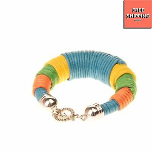 8 Wrapped Rope Cuff Bracelet Engraved Toggle Clasp Colour Block