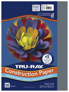 Tru-Ray Sulphite Construction Paper, 9 x 12 Inches, Slate, 50 Sheets