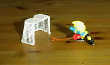 Smurfs Ice Hockey Super Smurf Stick Puck Net Vintage Figure Toy Figurine 40505