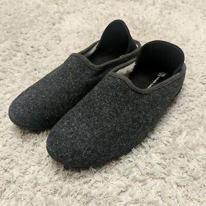 Mahabis Classic Wool Slippers Dark Grey Black Sole Eu41 Womans 10.5 NWOB