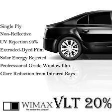 """Wimax Dark Smoke 20% VLT 20"""" In x 10' Ft Feet Uncut Roll Window Tint Car Film"""