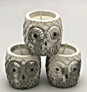 3 Pcs Nordic Marble Owl Highly Scented Candles Wax Handmade White Grey Gift Set