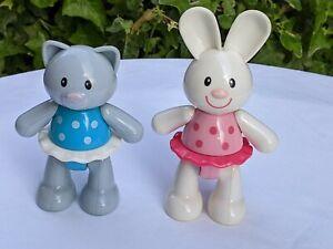 2 x ELC click clack preschool toy figures - rabbit & cat