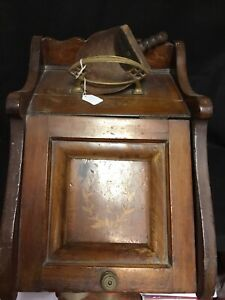 ANTIQUE WOODEN  COAL HOD/SCUTTLE ASH BOX HEARTH WITH BRASS SCOOP
