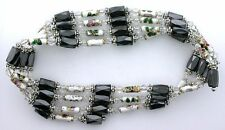 36 Inch White Crystal Cloisonne Hematite Magnetic Wrap Bracelet Necklace m36bn7
