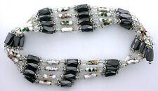 36 Inch White Crystal Cloisonne Hematite Magnetic Wrap Bracelet Necklace m36bn7